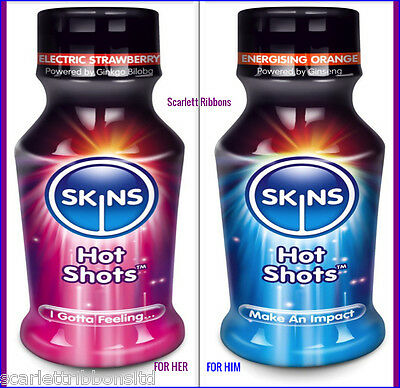 Skins Hot Shots Herbal Energy Energising Drinks FOR MEN & WOMEN 100ml Bottles