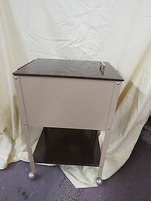 Vintage Steam Punk Mid Century Industrial Metal Rolling File Cabinet