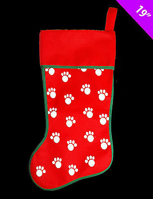 "Pet Cat Dog Stocking Sack With Paw Print Design 19"" Christmas Sack Pet Gift"
