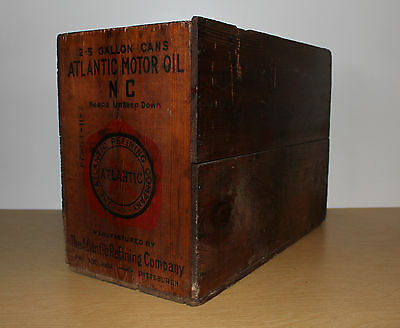 Atlantic Motor Oil 2-5 Gal Wooden Crate Box N.C. North Carolina VERY NICE!