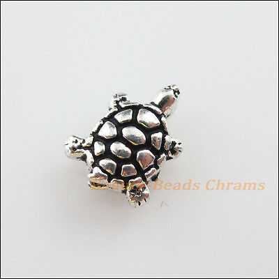 12Pcs Tibetan Silver Tone Lovely Tiny Tortoise Spacer Beads Charms 8x10mm