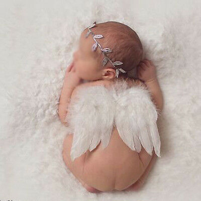 Newborn Baby Cute Leaf Headband + Wing Costume Photo Prop Photography Outfit Set
