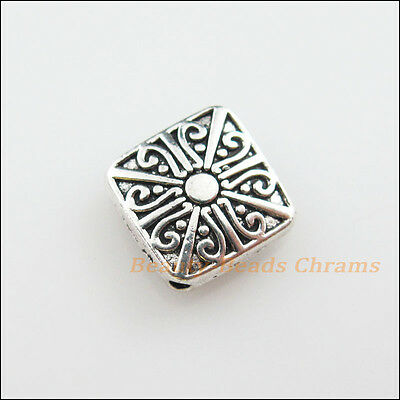 6Pcs Tibetan Silver Tone Flower Square Spacer Beads Charms 10mm