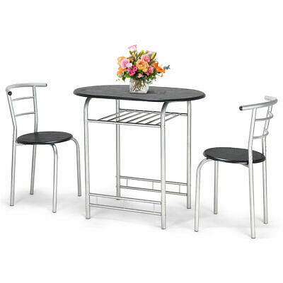 3 PCS Bistro Dining Set Table and 2 Chairs Kitchen Furniture Pub Home Restaurant & 3 PIECE Bar Table Set with 2 Stools Bistro Pub Kitchen Dining ...