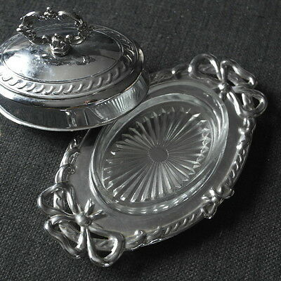 vintage  chrome plate with glass liner  BUTTER DISH