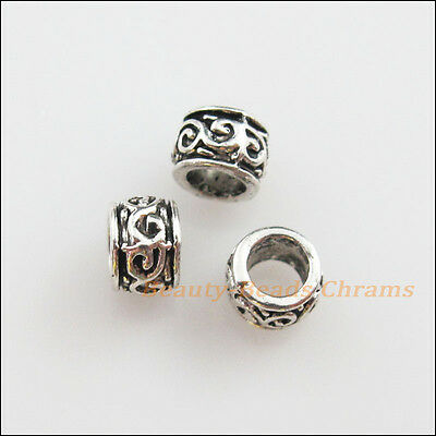 30Pcs Tibetan Silver Flower Round Tube Spacer Beads Charms 5mm
