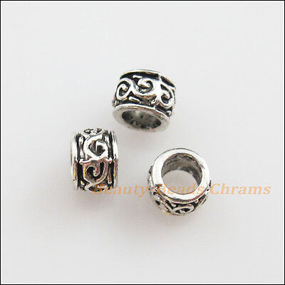 50Pcs Tibetan Silver Flower Round Tube Spacer Beads Charms 5mm
