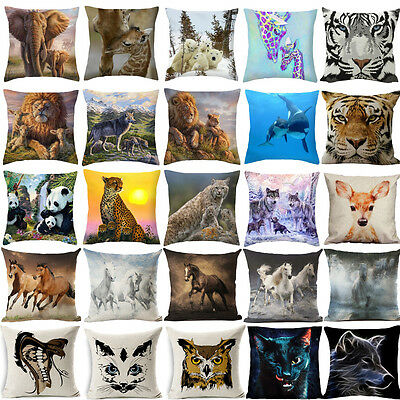Animal Polyester Cotton Linen Pillow Cover Sofa Cushion Covers Pillow Protectors