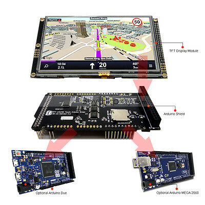 "5"" inch 480x272 TFT LCD Resistive Touch Shield for Arduino Due,MEGA 2560 Library"