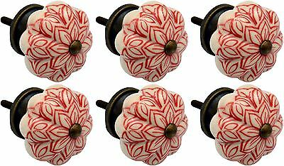 Ceramic Cupboard Drawer Knobs - Vintage Flower Design - Red - x6