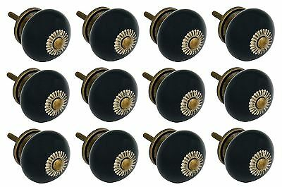 Nicola Spring Ceramic Cupboard Drawer Knobs - Black - Pack Of 12