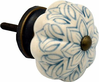 Ceramic Cupboard Drawer Knob - Vintage Flower Design - Grey / Blue