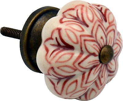 Ceramic Cupboard Drawer Knob - Vintage Flower Design - Dark Red