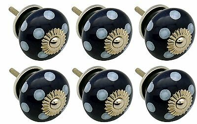 Ceramic Cupboard Drawer Knobs - Polka Dot Design - Dark / Light Blue - Pack Of 6
