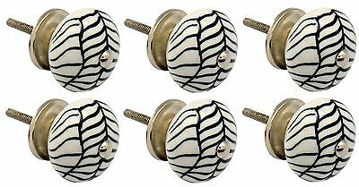 Ceramic Cupboard Drawer Knobs - Floral Design - Lines - x6