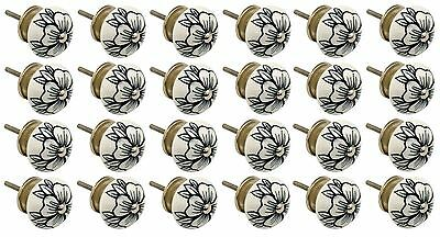 Ceramic Cupboard Drawer Knobs - Floral Design - Flower Bud - x24