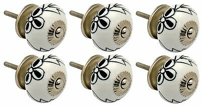 Ceramic Cupboard Drawer Knobs - Floral Design - Black / White Flower - x6