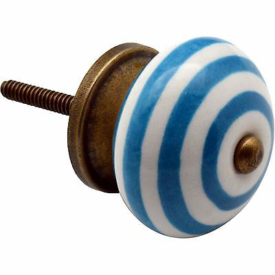 Nicola Spring Ceramic Cupboard Drawer Knob - Stripe Design - Light Blue