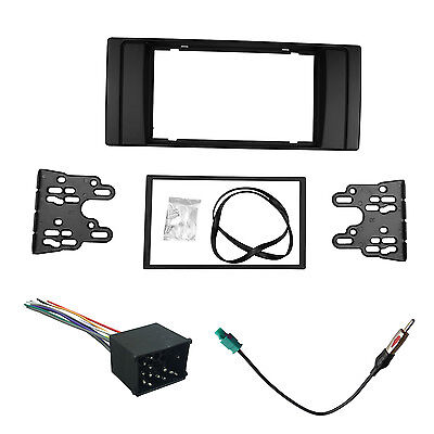 Double Din Fascia For BMW E39 E53 Stereo Panel With Wiring Harness Antenna Kit