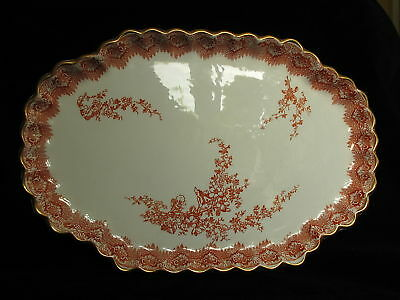 COPELAND RED GOLD SERVING DISH PLATE 340mm WIDE