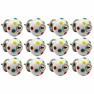 Ceramic Cupboard Drawer Knob - Polka Dot - Pack Of 12