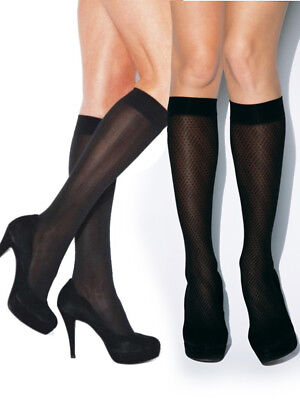Charnos Opaque Knee Highs 2 Pair Pack Diamond, Chevron Pattern Black High Socks