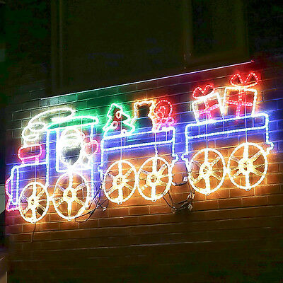 2.7M Mains Powered Outdoor Wall Christmas Animated Train Motif Led Rope Light