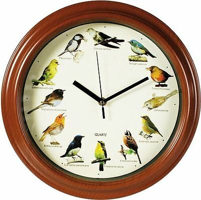 Plastic Wall Clock Birds Sounds 33cm Gift Home Decor Singing Novelty Analogue