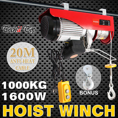 Electric Hoist Winch 500/1000KG Rope Lift Tool Remote Chain Lifting Strong Cable