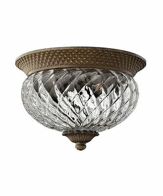 Antique Bronze Flush Fitting Traditional Style Twin Bulb Interior Ceiling Light