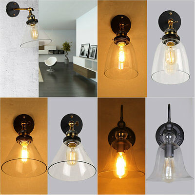 Vintage Style Loft Wall Lamp Antique Glass Industrial Retro Light Wall Sconce