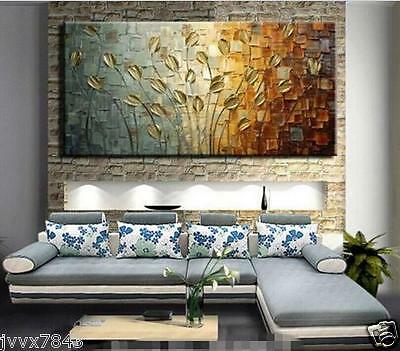 Modern Large Hand painted Art Oil Painting Abstract Wall Decor leaves No Frame