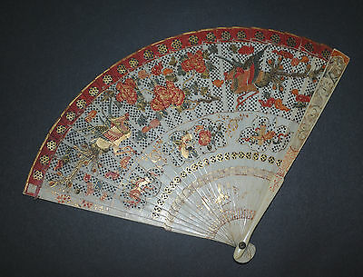 Museum Quality Antique Chinese 17Th Hand Painted Gold Birds Dragon Brise Fan