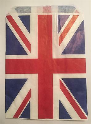 "40 Union Jack Red White And Blue Paper Bags 5 X 7"" Ideal Sweets Small Gifts"
