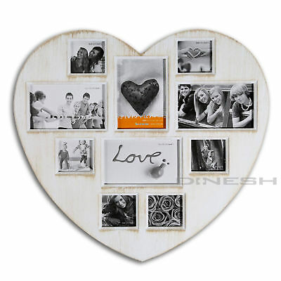 Picture Frame Heart Shabby Look Collage Photos Photo Gallery Frame Antique White