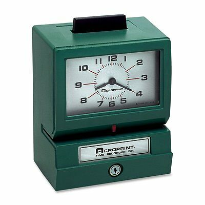 Acroprint 125NR4 Manual Print Time Clock, Print Month, Date. Push bar Stamping
