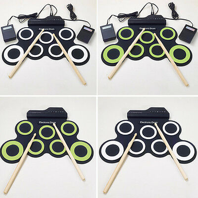 7 Pad USB MIDI Portable Silicone Roll Up Foldable Musical Electronic Drum