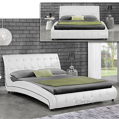 JAVI White Double Bed Upholstered Bedstead Slatted frame Faux leather