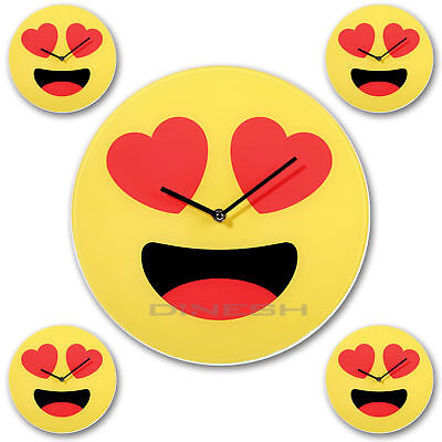 (232) Emoji Wall Clock Heart Kitchen Deco Watch Emoticon Glass Yellow 30cm