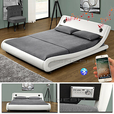 Memphis White Bluetooth Double Bed Upholstered Slatted Frame Marriage