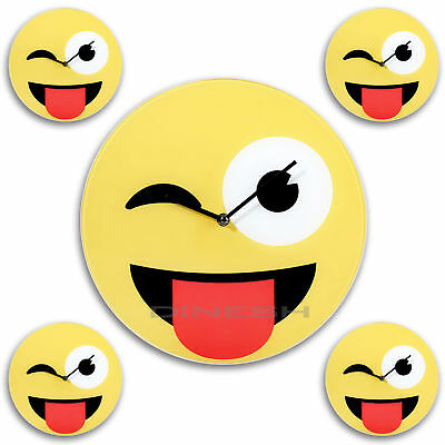 (012) Emoji WALL CLOCK TONGUE Kitchen Deco Watch Emoticon Glass Yellow 30cm