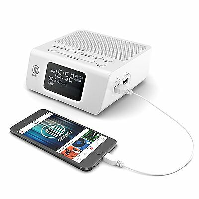 majority abbey dab digital fm radio alarm clock with usb charging black. Black Bedroom Furniture Sets. Home Design Ideas