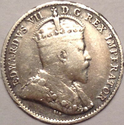 1909 Pointed Leaves Canada Silver 5 Cents Super Scarce Key Date Coin