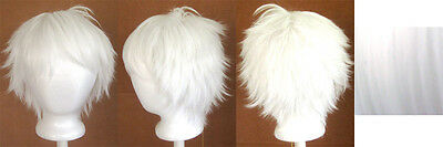 11'' Short Messy Spiky Snow White Synthetic Cosplay Wig NEW