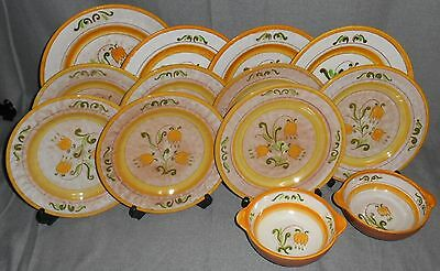 13 pc Set Stangl Terra Rose YELLOW TULIP PATTERN Plates/Bowls MADE IN USA
