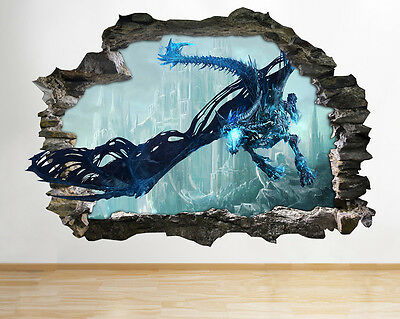 H221 Castle Dragon Fantasy Smashed Wall Decal Poster 3D Art Stickers Vinyl Room