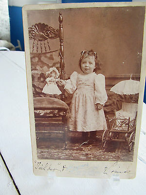 Antique Photograph Cabinet Photo Little Girl with Doll & Carriage Picture Photo