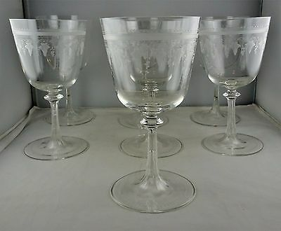 Seven Antique Engraved Crystal Water Goblets - Monogram - Grape & Leaf Motif