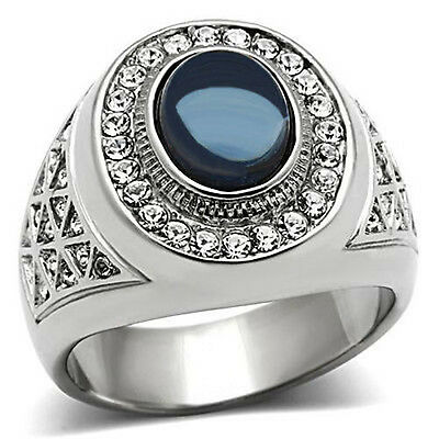 Stainless Steel Dark Blue Dome Oval Halo Sapphire CZ  Men/'s Gold EP Ring