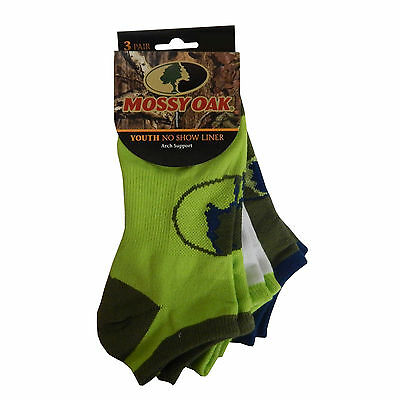 Mossy Oak Youth Boy's 3 Pair No Show Liner Large Socks, M4173P3